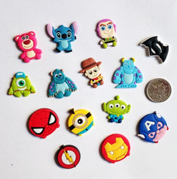 gadgets accessories Coupons - Wholesale New cartoon Super hero hero Logo Soft decoration accessories Shoe Charms Flat PVC DIY Gadgets Novelty kids gifts