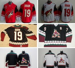 Wholesale Blue Coyote - Arizona Coyotes 19 Shane Doan Red White Men's Black Classic CCM Throwback Vintage Blank #97 Jeremy Roenick Jersey Embroidery Sewing Logos