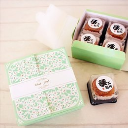 Wholesale Wholesale Bakery Boxes Free Shipping - Free shipping bakery package green flower decoration cookie macaron packing box biscuit dessert boxes supply favors