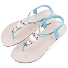 Wholesale Ladies Low Heel Rhinestone Sandals - Wholesale-Bohemia Ladies Owl Rhinestone Beach Flip-flop Summer Flat Sandals Women Shoes Sandles Zapatos Mujer Sandalias vintage low heel