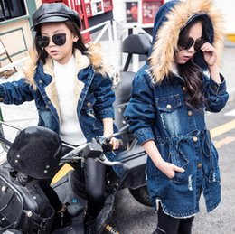 Wholesale large girls winter coats - Winter children's clothing cotton girls Korean version of the long section of cowboy jacket in the large children plus cotton thick cotton