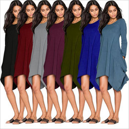 Wholesale sexy loose tops - 2pcs Women T Shirts Fashion Leisure Tops Long Sleeve Casual Blouse European America Street Solid Color Shirts Looses Loose Long Tank AP70