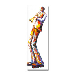 Wholesale Abstract Figure Drawing - Hand drawing top quality cartoon figure play the music instruments oil painting hand painted promotional items for 2016