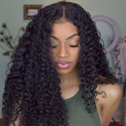 Wholesale Vietnamese Silk - Kinky Curly Silk Top Lace Front Human Hair Wigs Virgin Peruvian Glueless Full Lace Wig Human Hair Color #1B for Black Women