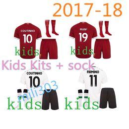 Wholesale Red Soccer Socks Youth - Kids 2017 2018 Youth soccer Jersey Home Football Shirts Mane Clyne COUTINHO LALLANA FIRMINO Lucas Sturridge Boys Children Jersey kit + socks