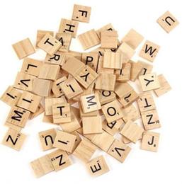 Wholesale Wood Scrabble Tiles - 100pcs set Wooden Alphabet Scrabble Tiles Black Letters & Numbers For Crafts Wood Board Games Crafts Wooden Scrabble Tiles KKA2338