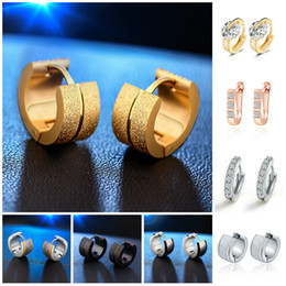 Wholesale 14k Rose Gold Earrings - Channel Earrings Hoop Mens Stainless Steel Stud Earrings For Women Hanging Crystal Diamond Sterling Silver 14K Rose Gold Mens Hoop Earrings