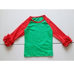 Wholesale Girls Long Sleeve Ruffle Tee - Christmas icing t-shirts ruffle long sleeve shirts tees for girls children fern green and red shirts icing ruffles shirt for kids Christmas