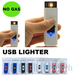 Wholesale Electronic Flame Lighter - Cigarette Lighters USB Rechargeable Battery Electronic Cigarettes Lighter Windproof Flameless No Gas Fuel ABS Flame Retardant Plastic