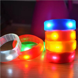 Wholesale Wholesale Toy Bracelets - 7 Color Sound Control Led Flashing Bracelet Light Up Bangle Wristband Music Activated Night light Club Activity Party Bar Disco Cheer toy