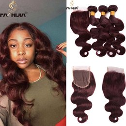 Wholesale Red Human Hair Lace Fronts - lace front human hair bundles with closure body wave hair weaves closure burgundy wine red brazilian wet and wavy hair bundles extension