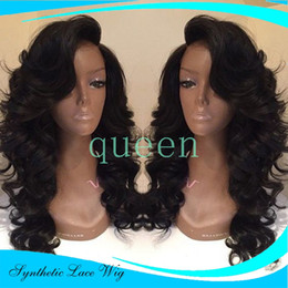 Wholesale Natural Red Hair Wig - Black Lace Front Wig Laco Dianteira Penruca Half Handmade Brazilian Body Wave Wigs Synthetic Natural Wavy Heat Resistant Hair