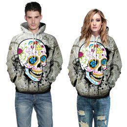 Wholesale Skull Sweater For Men - Creative 3D hoodies for men sweatshirt color skull digital printing tracksuit women hoodie plus size shirt XXL casual hoodie sweater