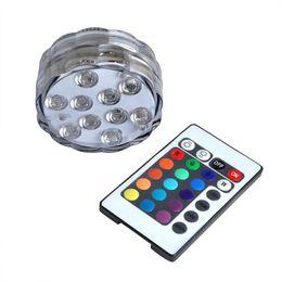 Wholesale Led Lighting For Night Fishing - Wholesale- New 10 LED Waterproof Light RGB for Vase Wedding Party Fish Tank Decors Night Lights