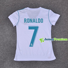 Wholesale womens ripped shirts - Womens Real Madrid Home Football Soccer Jerseys White Shirt Ronaldo Kroos Benzema Ramos Bale