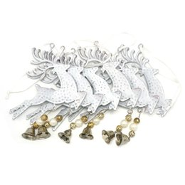 Wholesale Reindeer Bells - Wholesale-Christmas reindeer decoration 6pcs white metal bell reindeer wall hanging 3.9in for home Christmas elk decor free shipping