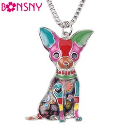 Wholesale Metal Snake Chain Necklaces - Bonsny Maxi Statement Metal Alloy Chihuahuas Dog Choker Necklace Chain Collar Pendant Fashion New Enamel Jewelry For Women