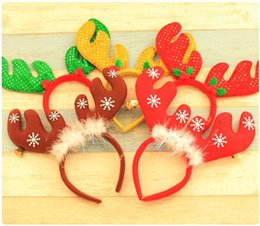 Wholesale Decoration For Hair Women - New Red Christmas Headband With Bell Snowflake Elk Headwear For Women Girls Christmas Party Dress Hair Decoration