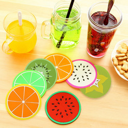 Wholesale Fruit Placemats - Wholesale- Cute Colorful Silicone Fruits Shape Coaster Cup Cushion Holder Drink Placemats Mat Skid Insulation Table Mat Home Decoration