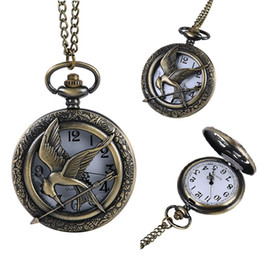 Wholesale Arrow Steel Watch - Vintage mens women Bird Arrow pocket watches Bronze alloy pendant chain watch necklace hollow gift watches for boys girls