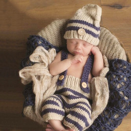 Wholesale Hand Knit Hats For Babies - Hot Selling newborn's infants clothing photography hand-knit photographing hat+pants set stripes style for all season baby photography props