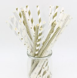 Wholesale Drinking Straws Chevron Striped - Wholesale-300Pcs Gold Silver striped mixed birthday wedding decorative party decoration event supplies drinking Paper Straws Stars Chevron