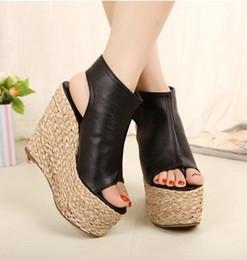 Wholesale Ladies Wedge Shoes Ankle Straps - wholesaler free shipping factory price peep toe wedge heel thong sandal women Straw lady shoe europer size 34-39 140