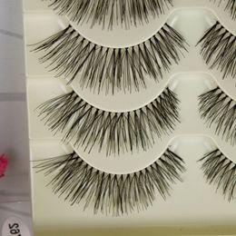 Wholesale Eyelid Strips - 5 Pairs False Eyelashes Natural Long Crisscross Messy Soft Eyelid Stretch Fake EyelashesCotton Stalk Fashion Beauty Makeup Lashes tool