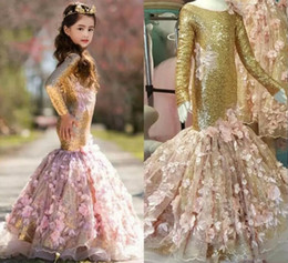 Wholesale Mermaid Princess Gold - Sparkling Long Sleeves Flower Girls Dresses For Weddings With Handmade 3D Appliques Sequined Girls Pageant Dress Mermaid Kids Party Gown