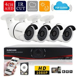 Wholesale Dvr Camera Kits - 4ch 1080P AHD-H DVR 4PCS HD 2.0MP 1080P Real Time Outdoor Security Cameras Video DVR Kits CCTV Surveillance System 1TB