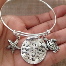 Wholesale Plated Turtle Charm - 12pcs Bracelet with starfish turtle may you always have a shell in your pocket & sand between your toes