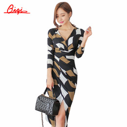 Wholesale Sexy Business Casual Dresses - Wholesale- Qiqi Korean 2016 Autumn Retro Print Sexy Dress Women Business V-neck Office Work Tunic Bodycon Sheath Casual Pencil Dresses