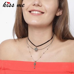 Wholesale Women Kissing Leather - KISS ME Crystal Stars Choker Necklace Imitation Leather Multi Layers Fashion Necklaces for Women Brand Jewelry