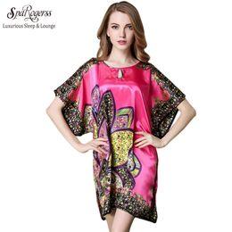 Wholesale Summer Women S Faux Silk - Wholesale- SpaRogerss Top Promotion Summer Style Faux Silk Ladies Bathrobe Home Suit Plus Size Special Sleep Top For Women Pyjamas 10215