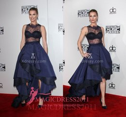black music dress Promo Codes - Rebecca Romijn Navy Blue Sheer Lace Satin Prom Evening Dresses American Music Awards 2019 Ball Gown Jewel Long Celebrity Party Gowns