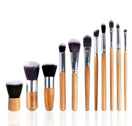 Wholesale Environmental Protection Bags - 11 PCS Makeup Brushs Tools Bamboo handle environmental protection Makeup Brushes Set Kit With Retail bag