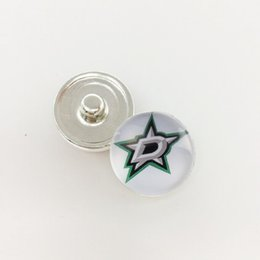 Wholesale Wholesaler Dallas - 20pcs Puck Team Sports Dallas Stars Glass Button Snap Jewelry Fit For 18MM Fans Love Snap Jewelry Bracelet