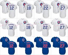 Wholesale Addison Russell - 2016 World Series Champions Jersey Chicago Cubs Men's 12 Kyle Schwarber 18 Ben Zobrist 22 Jason Heyward 27 Addison Russell Jerseys