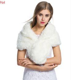 Wholesale White Pashmina Faux Fur - New Winter Women Shawl Luxurious Elegant Poncho Faux Fur Shawl Warm Shrug Soft Wedding Party Festival Scarf Cape Wrap White Black SVH031466
