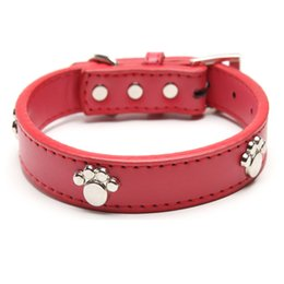 Wholesale Pink Collar For Puppies - Real Leather Paw Cut Puppy Collars Adjustable Necklace Studs Pet Cat Dog Collars M L XL for Medium and Large Pet Free shipping