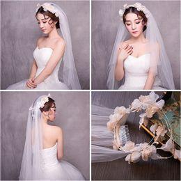 Wholesale Korean Wedding Veils - Woman headdress hair Lomen bride Korean silk yarn veil wedding dress hair accessories one flower 154058
