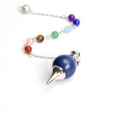 Wholesale Bead Room - Natural Tumbled Chakra Stones Carved Reiki Dowsing Energy Healing Ball Pendulum with Chakra Beads