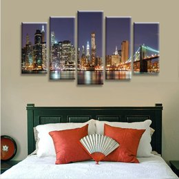 Wholesale city bridge paintings - Unframed New York Brooklyn Bridge Panel Wall Art City Oil Painting On Canvas Textured Abstract Paintings Pictures Decor Living Room Decor