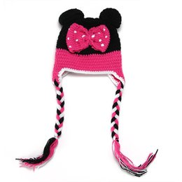 Wholesale Baby Crochet Minnie Mouse Hat - Hot Sale Children Girls Boys Cute Mouse Hat Minnie Micky Design Knitted Hats For Photography Baby Handmade Knitting Hats
