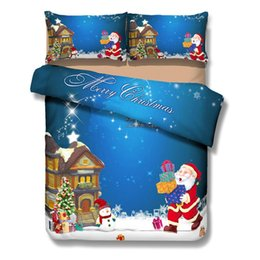 Wholesale Christmas Queen Comforters - 3D Bedding Sets Merry Christmas Santa Claus and Gift 4pc Duvet Cover Bed Sheet PillowCase Bedclothes Sets Christmas Gift Home