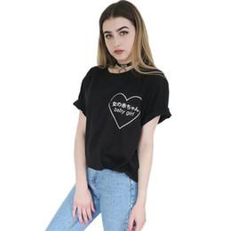 Wholesale Wholesale Japanese Fashion Clothing - Wholesale- Baby Girl Heart Japanese Harajuku Signs Printing T-shirt Tumblr Women Fashion Clothes Punk Tee Shirt Femme Black White Tshirt