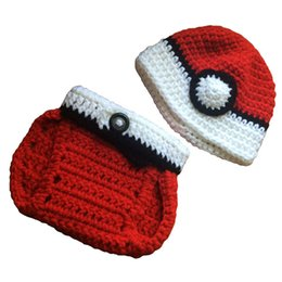 Wholesale Knitted Ball Covering - Newborn Red Anime Costume,Handmade Knit Crochet Baby Boy Girl Ball Hat and Diaper Cover Set,Infant Toddler Photography Prop