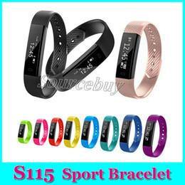 Wholesale Male Vibrating - Fitness Smart Bracelets S115 Pedometer Smartband Vibrating Alarm Clock Smart Band Passometer Wristband with Heart Rate Monitor Bracelet