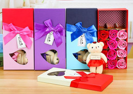 Wholesale Flowers Teddy Bears - Romantic Gift Set Bath Rose Flower Soap With Floral Scent & Cute Teddy Bear Special Present Valentines Day Wedding Party favors decor