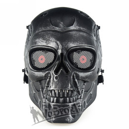 Wholesale Skull Skeleton Army Airsoft - WoSporT Outdoor Skull Mask Tactical Hood Terminator Airsoft Full Face Skeleton Safety Wargame Army Field Game Halloween Party Movie Prop